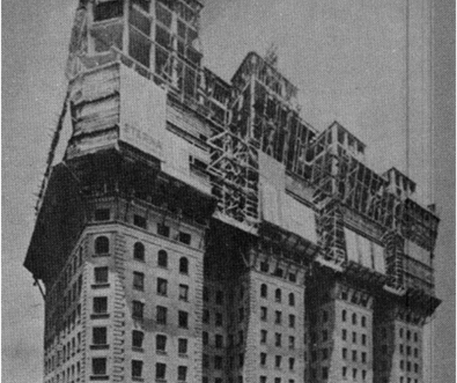 Edifício Martinelli, prédio de São Paulo, em construção.