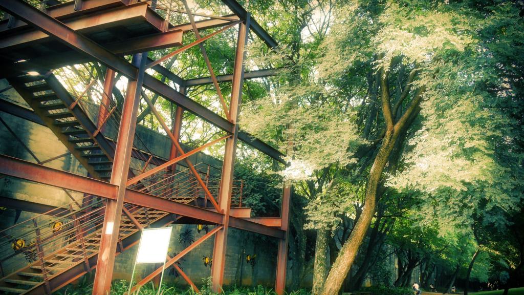 Parte da estrutura da penitenciária permanece intacta no Parque, sendo utilizada para observação e caminhada.